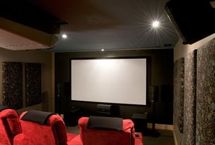 Contemporary Home Theater with Carpet, can lights, Standard height