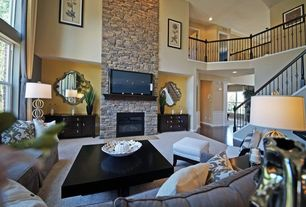 Eclectic Living Room with High ceiling, stone fireplace, Carpet, Balcony
