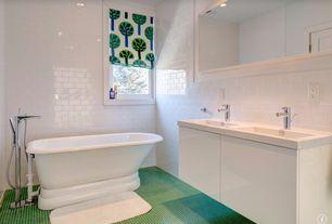 Contemporary Full Bathroom with ceramic tile floors, European Cabinets, Quartz vanity top, Undermount sink, Freestanding