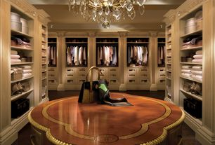 Traditional Closet with Standard height, Crown molding, Hardwood floors, bedroom reading light, Built-in bookshelf