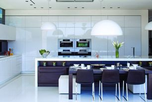 Contemporary Kitchen with Waterfall countertop, Breakfast bar, L-shaped, Flush, Lacquer cabinets, European Cabinets