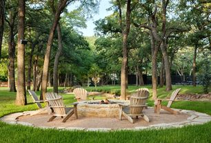 Traditional Landscape/Yard with Fire pit, Fence, exterior stone floors, L.L.Bean Classic Adirondack Chair