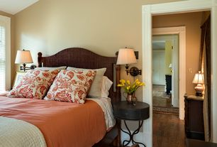 Traditional Guest Bedroom with Faux marble backplate bronze plug-in swing arm wall lamp, Hardwood floors, High ceiling