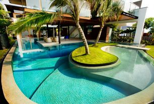 Tropical Swimming Pool with Pathway, Fence, exterior tile floors