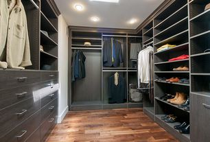 "Contemporary Closet with Hardwood floors, Built-in bookshelf, Mullican Flooring Oak Wine Barrel 1/2"" Thick 7"" Wide"