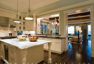 Traditional Kitchen with Wood plank ceiling (tongue & groove board), Glass panel, Large Ceramic Tile, Undermount sink, Flush