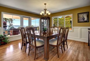 Traditional Dining Room with French doors, Cramco 25310-61/63 Kemper Square Dining Table, Wainscotting, Chandelier