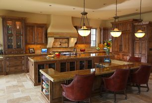 Mediterranean Kitchen with Ceramic Tile, Raised panel, Kitchen island, Pendant light, Travertine Tile, Stone Tile, L-shaped