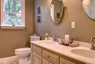 Traditional Full Bathroom with Limestone counters, Raised panel, Limestone, stone tile floors, Inset cabinets, Casement