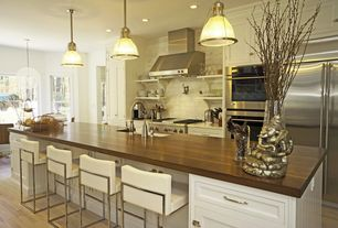Contemporary Kitchen with Farmhouse sink, Kitchen island, Simple Marble Tile, One-wall, Wood counter top, Wood counters
