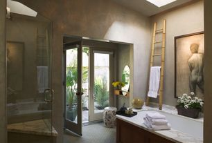 Eclectic Master Bathroom with Skylight, Standard height, French doors, Bathtub, Master bathroom, Carpet