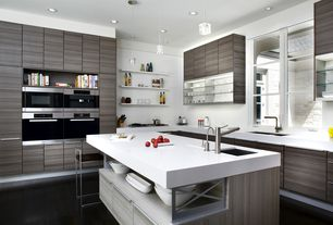 "Contemporary Kitchen with European Cabinets, Dupont Corian Designer White, Undermount sink, Nuevo genoa 25.5"" bar stool"