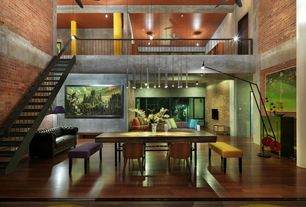 Contemporary Great Room with picture window, Columns, High ceiling, Hardwood floors, Ceiling fan, Tubo pendant lamp, Loft