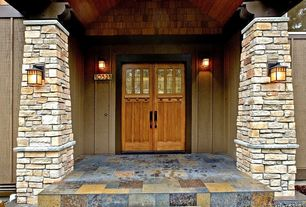 Craftsman Front Door with Glass panel door, exterior stone floors