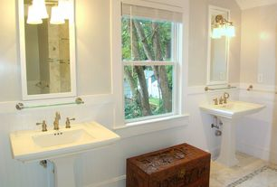 Cottage Full Bathroom with wall-mounted above mirror bathroom light, large ceramic tile floors, Standard height, Wainscotting