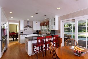 Traditional Kitchen with Breakfast nook, Glass panel, Crown molding, High ceiling, Glass panel door, Large Ceramic Tile