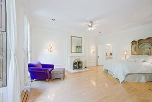 Eclectic Guest Bedroom with Crown molding, Ceiling fan, Laminate floors, Chair rail