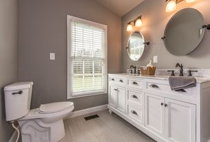 Contemporary Master Bathroom with Flat panel cabinets, Complex marble counters, Inset cabinets, Undermount sink, Double sink