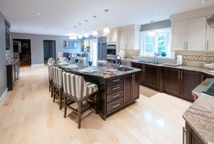 Contemporary Kitchen with double wall oven, French doors, Pendant light, Standard height, Subway Tile, Multiple Sinks, Galley