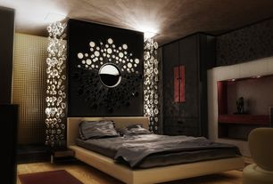 Contemporary Master Bedroom with interior wallpaper, Chandelier, Hardwood floors, High ceiling, Built-in bookshelf