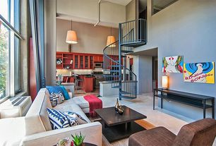 Modern Living Room with Cathedral ceiling, Concrete floors