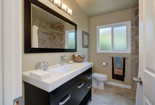 Contemporary Full Bathroom with Pental thassos quartz, travertine tile floors, tiled wall showerbath, Undermount sink, Flush