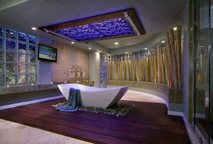 Contemporary Master Bathroom with Rocky point tile rip curl hand painted linear glass mosaic tiles, Hardwood floors