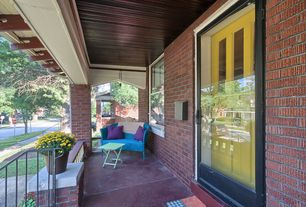Craftsman Porch with Wrap around porch, Pathway, French doors