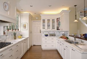 Traditional Kitchen with Stone Tile, Multiple Sinks, Complex Marble Tile, Flush, electric cooktop, can lights, Pendant light