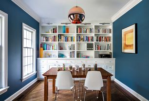 Contemporary Home Office with Standard height, Built-in bookshelf, Hardwood floors, double-hung window, Pendant light