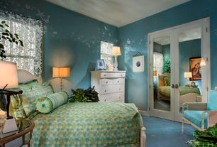 Traditional Kids Bedroom with Linen Upholstered Cane Back Chair, French doors, Carpet, Mural