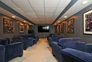 Contemporary Home Theater with can lights, Carpet, Box ceiling, Standard height