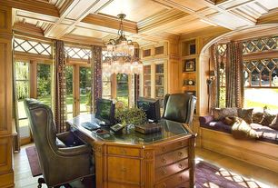 Traditional Home Office with French doors, Built-in bookshelf, Wall sconce, Transom window, Chandelier, Box ceiling