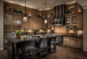 Contemporary Kitchen with Farmhouse sink, PLC Lighting Caroline 1 Light Mini Pendant, Pendant light, Slate counters, L-shaped