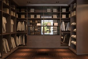 "Contemporary Closet with Carpet tiles, Home Dynamix 12"" x 12"" Vinyl Tile in Machine Blonde Wood, Laminate floors"