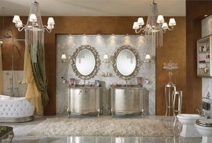 Traditional Master Bathroom with Bidet, Uttermost Beccaria Oval Mirror, Simple Marble, Flat panel cabinets, Chandelier, Flush