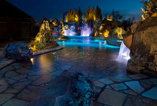Rustic Swimming Pool with Other Pool Type, Fountain, Pool lighting, Waterfall, exterior stone floors