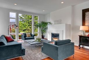 Contemporary Living Room with Built-in bookshelf, Laminate floors, Cement fireplace