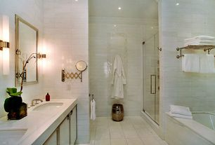 Contemporary Master Bathroom with Undermount sink, Simple marble counters, Double sink, Glass panel, Crown molding, Flush