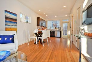 Contemporary Great Room with French doors, Bamboo floors, Transom window