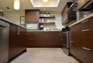 Contemporary Kitchen with Pendant light, Corian counters, Flush, Ceramic Tile, specialty door, European Cabinets, U-shaped