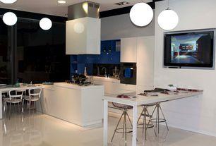 Contemporary Kitchen with Breakfast bar, Undermount sink, Corian counters, Pendant light, Flush, Kitchen island, L-shaped