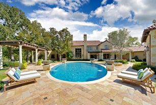 Mediterranean Swimming Pool with Pathway, Trellis, Fountain, Transom window, French doors, exterior stone floors