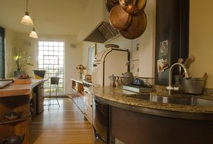 Country Kitchen with Kitchen island, Breakfast bar, Laminate floors, European Cabinets, Complex granite counters, Casement