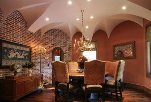 Eclectic Dining Room with Chandelier, Hardwood floors