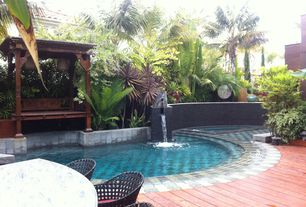 Asian Swimming Pool with exterior stone floors, Other Pool Type, Pathway, Fountain, Gazebo