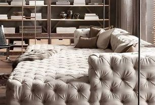 Contemporary Living Room with UXE FAUX FUR THROW - MINK, Hardwood floors, CAMINO FLOOR LAMP, SOHO TUFTED UPHOLSTERED DAYBED