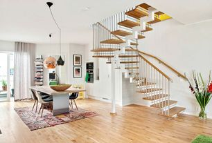 Contemporary Staircase with Metal staircase, Columns, Hardwood floors