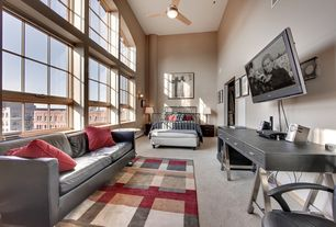 Contemporary Living Room with picture window, Casement, Ceiling fan, High ceiling, Carpet