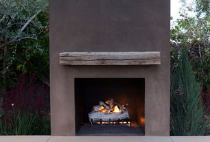 Rustic Patio with Real Fyre White Birch Vented Gas Log Set, RECLAIMED ANTIQUE FAUX WOOD FIREPLACE MANTEL